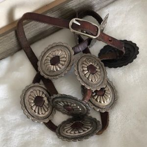 Vintage Thin Leather Concho Belt
